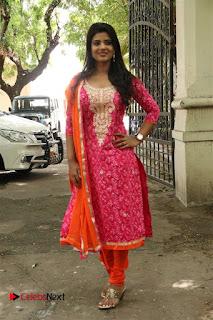 Actress Aishwarya Rajesh Pictures in Red Salwar Kameez at Dharmadurai Pressmeet  0029.jpg