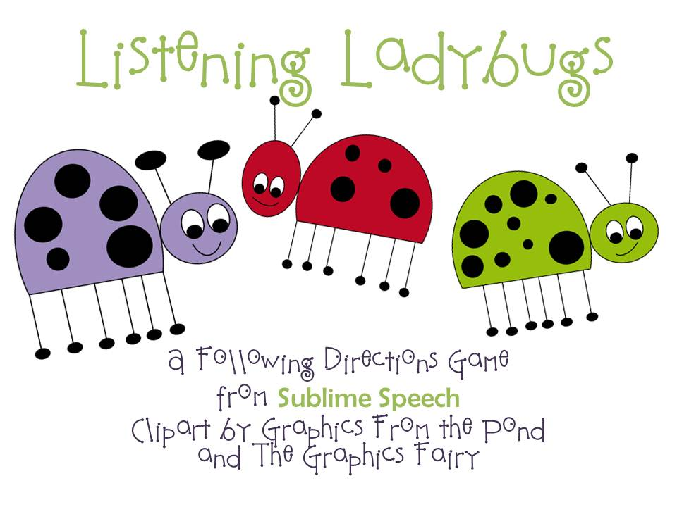 sublime speech listening ladybugs following directions activity. Black Bedroom Furniture Sets. Home Design Ideas