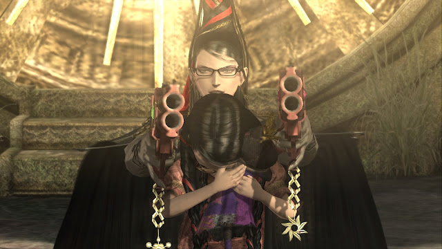 Bayonetta is protecting a child from danger while wielding two guns aimed at the viewer.