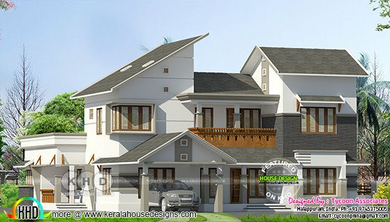 274 Sq-M slanting roof modern Kerala home design