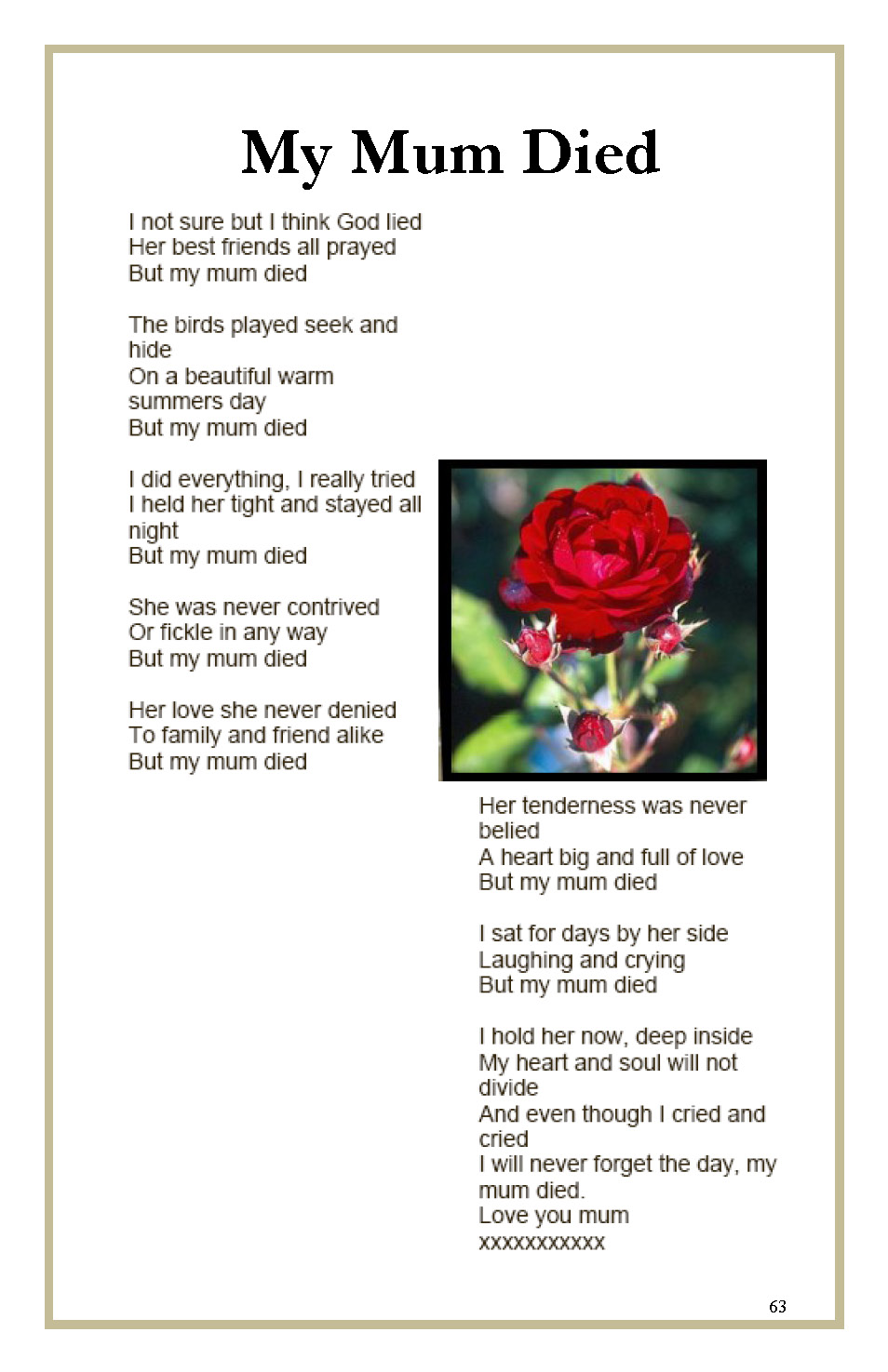 A Peom About The Day My Mother D In November 2010