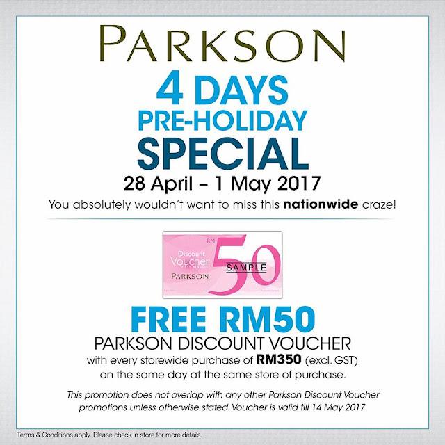 Free Parkson Discount Voucher 4 Days Special Sale Discount Promo