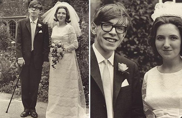 La boda de Stephen Hawking, foto tomada en el año 1965. Fotos insólitas que se han tomado. Fotos curiosas. Stephen Hawking el día de su boda