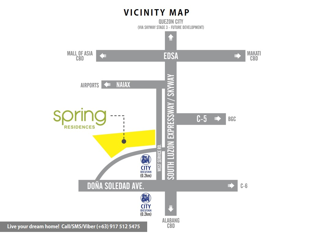Vicinity Map - SMDC Spring Residences - 1 Bedroom With Balcony | Condominium for Sale Bicutan Paranaque