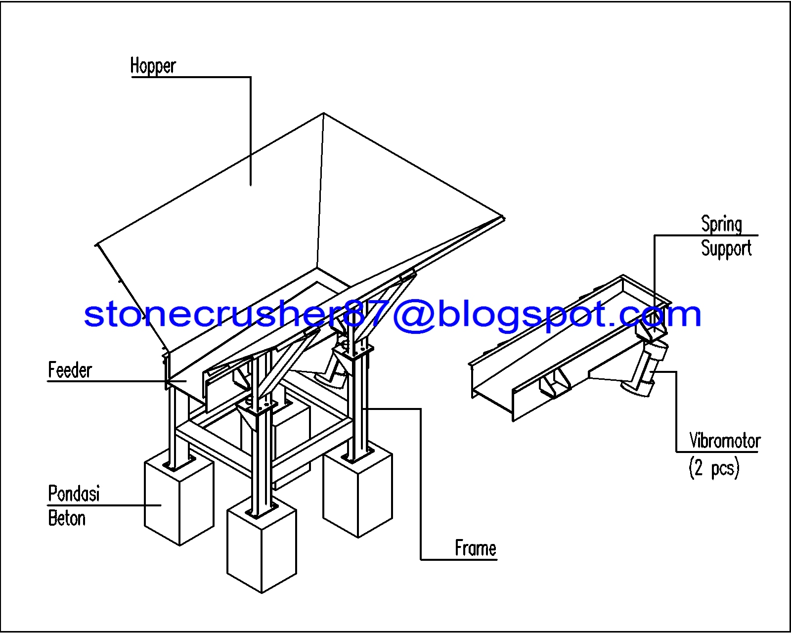 Unit Pengumpan Feeding Vibratory Feeder Jual Stone