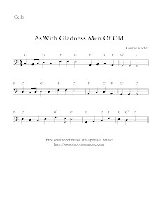 As With Gladness Men Of Old, cello sheet music
