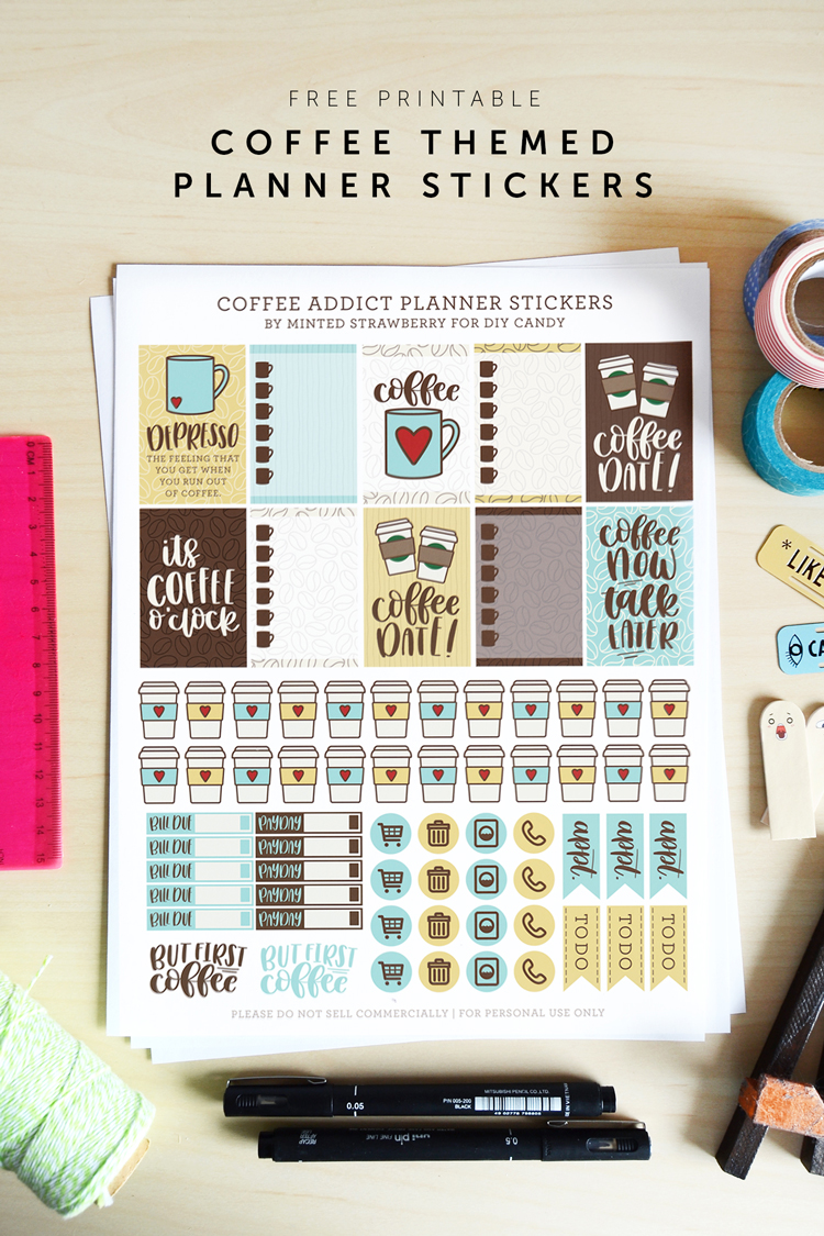 coffee planner printable stickers at DIY Candy