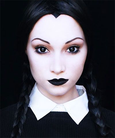 maquilhagem halloween wednesday addams