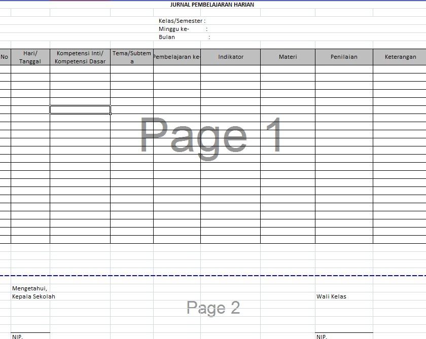 Contoh Format Jurnal Pembelajaran Harian Kelas Semua ...