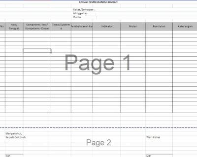 Contoh jurnal mengajar kurikulum 2013 sd