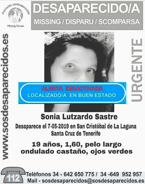 Sonia Lutzardo Sastre, la joven que se encontraba como desaparecida en San Cristóbal de La Laguna, localizada en buen estado