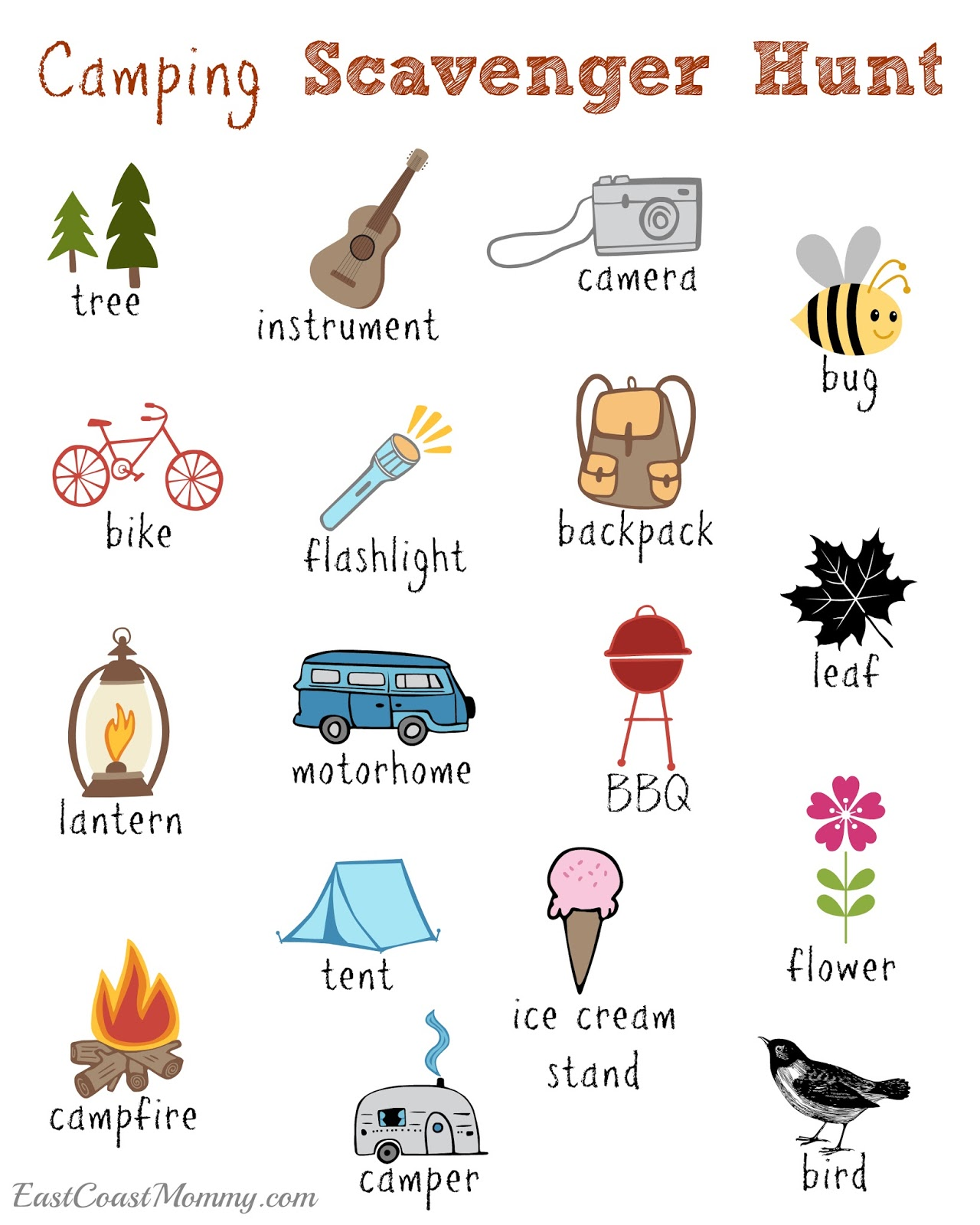 East Coast Mommy Camping Scavenger Hunt Free Printable