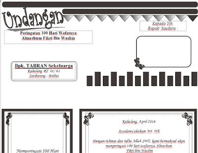 Download Desain Undangan 100 Hari Kematian Format Word (Filetype:doc) Bisa Diedit
