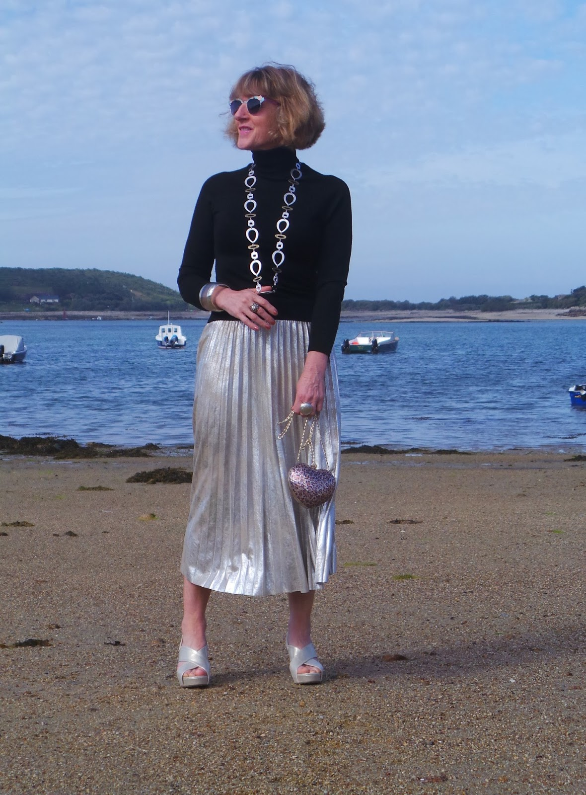 If you challenge an over-50s fashion blogger to style Marvellous Metallics, Anna's Island Style shows the kids how to do it