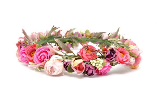 Ptaszarnia kwiatowy wianek ślubny Laura Palmer, moda ślubna, stylowe dodatki panny młodej