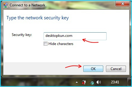 Sharing internet - masukan password