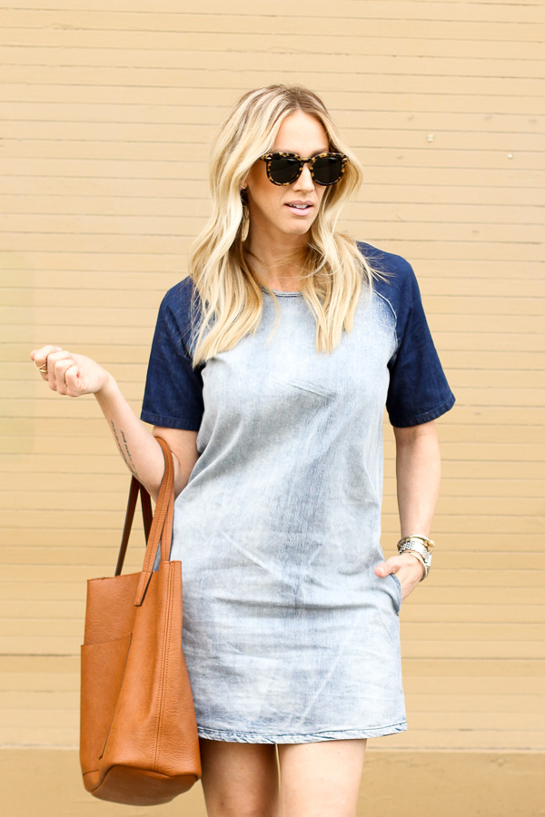 blue acid washed denim shirt style dress