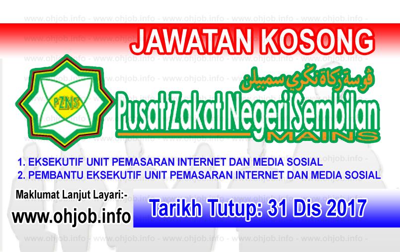 Jawatan Kerja Kosong Pusat Zakat Negeri Sembilan logo www.ohjob.info disember 2017