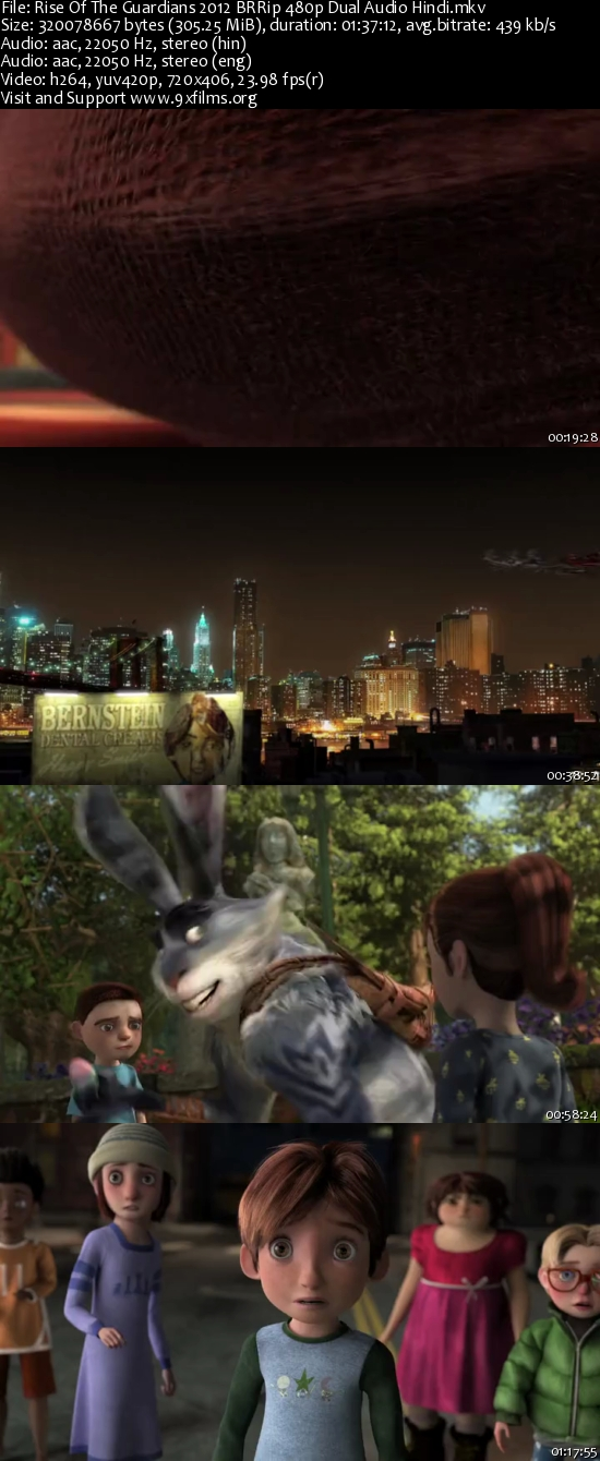 Rise Of The Guardians 2012 BRRip 480p Dual Audio Hindi