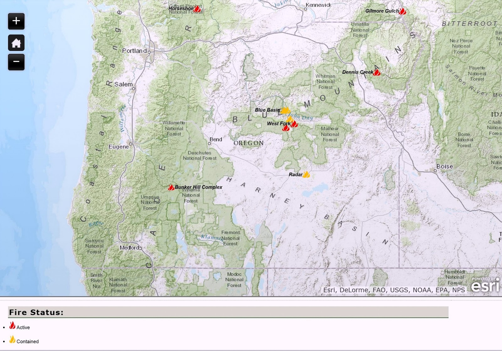 Large Wildfire Map.Oregon Smoke Information Current Oregon Wildfire Map For July 8