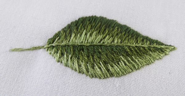 leaf, embroidery, stitches, stitching, long and short stitches, flower