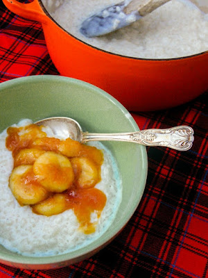 Creamy Rice Pudding with Toffee Bananas