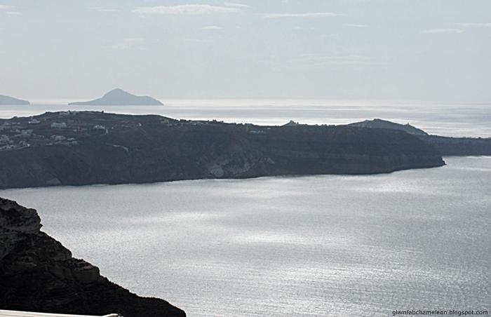 Santorini island on a cloudy summer day