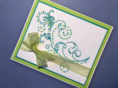 Best Wishes card with Dot and Drop die cut, Nuvo Drops, Distress Oxide background and ribbon