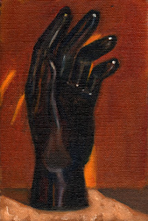 Oil painting of a black plastic mannequin hand with an orange background.