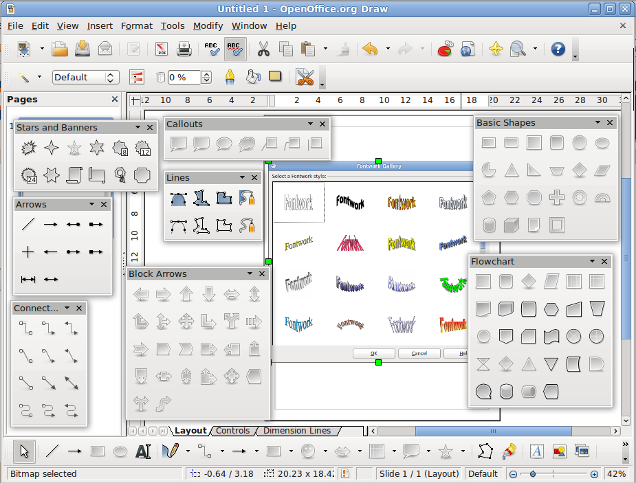 Tool enable in openoffice drawing like MS Office Publisher