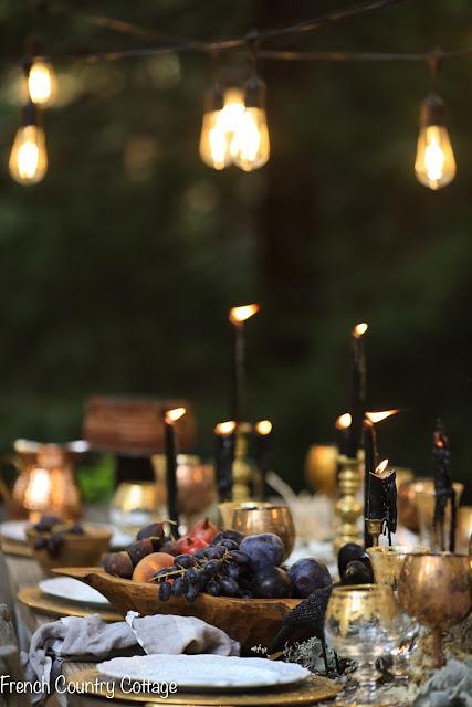 Elegant Outdoor Halloween Table setting