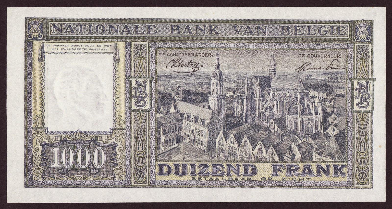 Belgian Banknotes 1000 Francs banknote 1945 Grand market square in Veurne