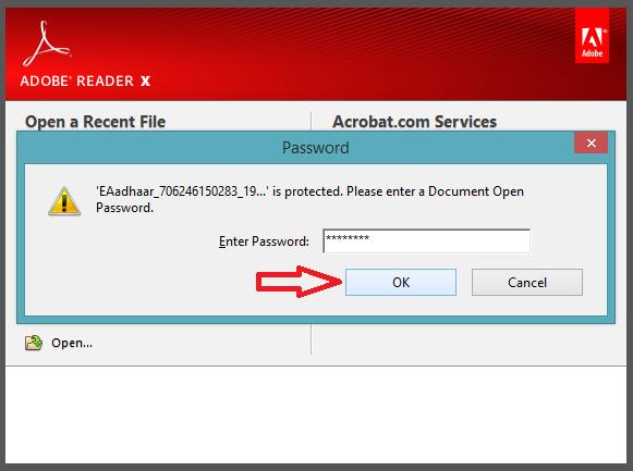 """पासवर्ड डालकर """"OK """" बटन क्लिक करें"""