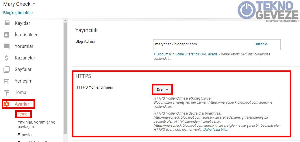 Blogger HTTPS Aktif Etmek