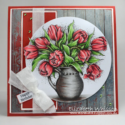Alshandra, Alshandra's corner, Elizabeth Whisson, handmade card, copics, stamping, power poppy, powerpoppy, tulips in hobnail pitcher