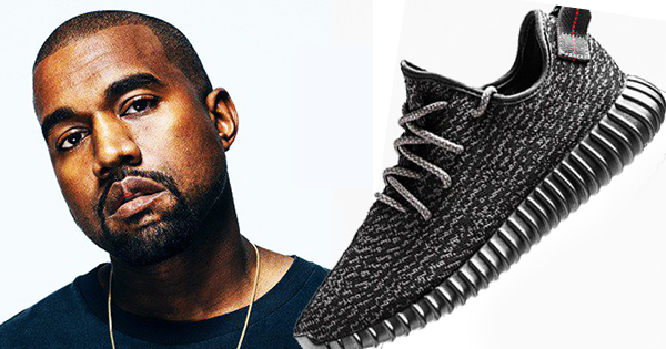 Kanye West with his Yeezy shoes