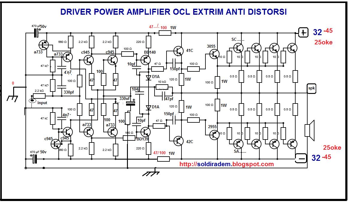 Skema Amplifier OCL Extreme Modif YIROSHI Daya Rendah