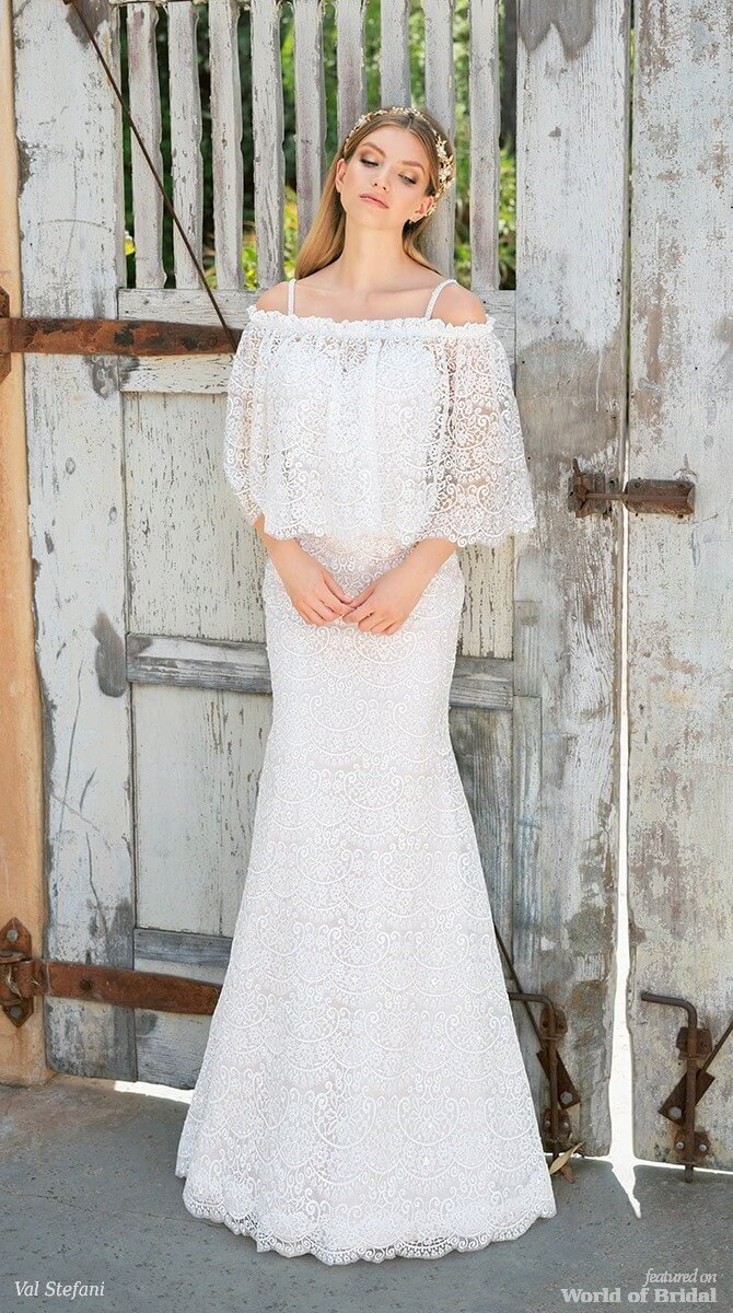 Val Stefani Spring 2018 Beaded Lace Mermaid Wedding Dress With Straps