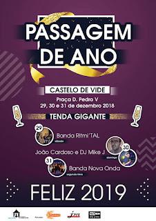 Cartaz, Passagem do Ano, Tenda Gigante, Banda Ritmi´TAL, Sábado, Castelo de Vide, Portugal