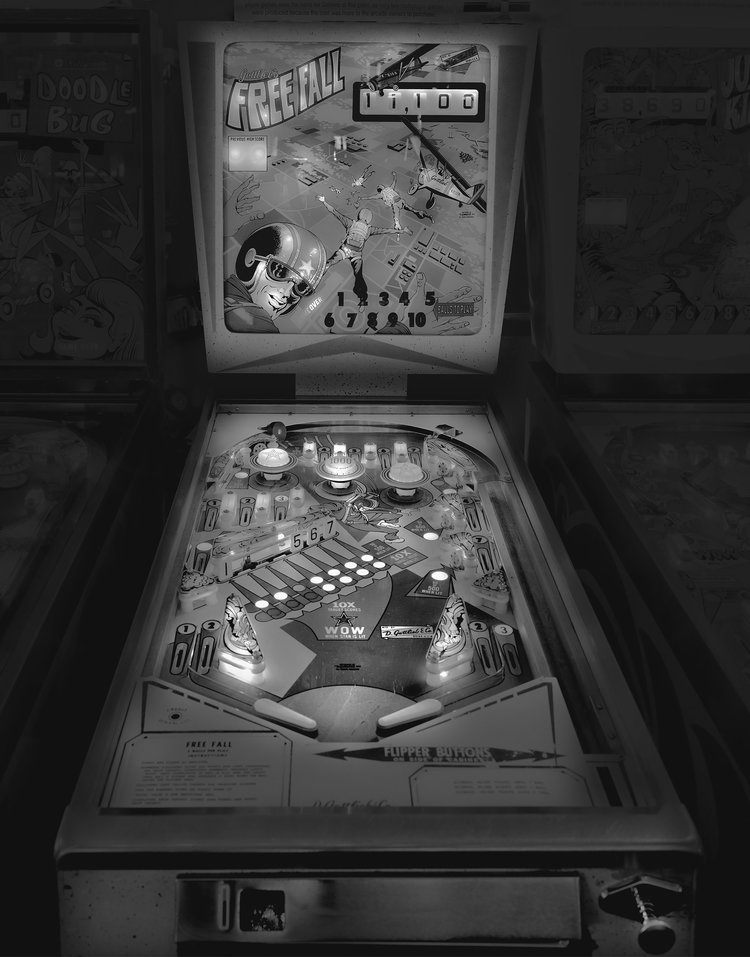10-Free-Fall-Michael-Massaia-Black-and-White-Photographs-Funfair-and-Pinball-Machine-www-designstack-co