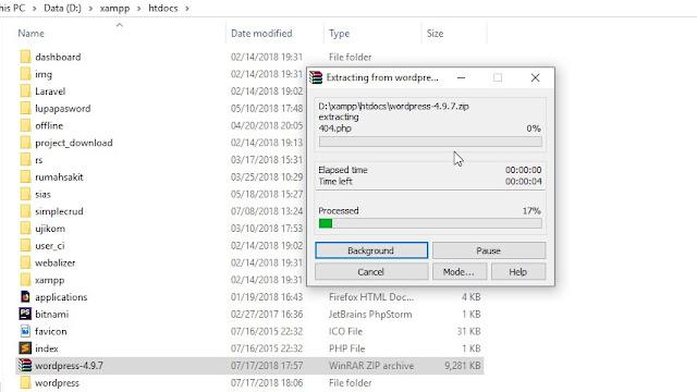 Memindahkan file Wordpress ke folder htdocs XAMPP