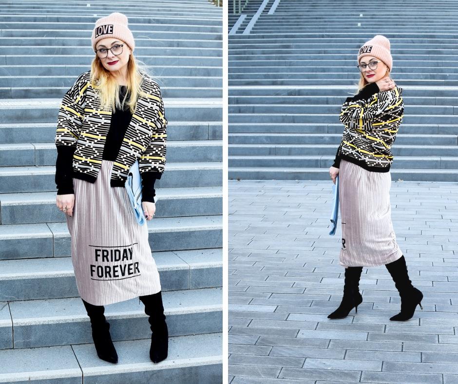 Modeblogger Look Winter. Overknees und Rock komibieren