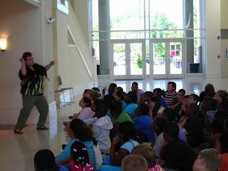 Storyteller Robin Kitson entertains students