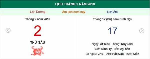 Xem ngày tốt xấu, giờ hoàng đạo - Xem lịch Thứ Sáu ngày 2 tháng 2 năm 2018