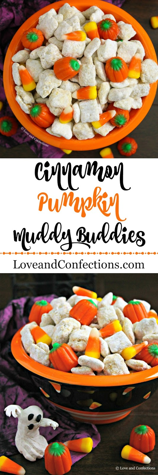Cinnamon Pumpkin Muddy Buddies from LoveandConfections.com #PumpkinWeek