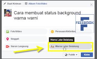 cara membuat status facebook dengan background warna versi WEB