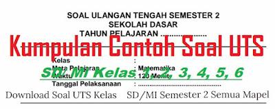 Contoh Soal UTS SD Kelas 6 Semester 2 (Update 2017)