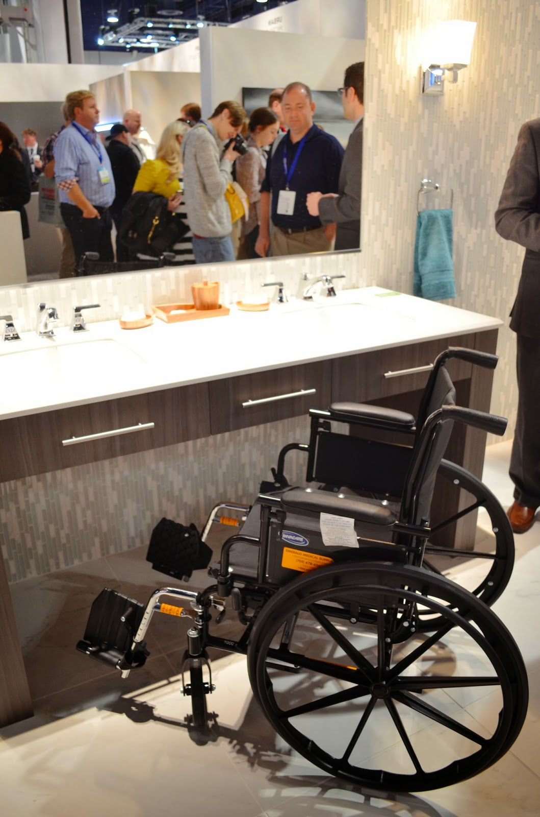 Vanity access for wheelchair - The Custom Vanity Was Mounted At Ada Height And The Shower Had No Threshold To Allow Someone In A Wheelchair Easy Access Which Works Beautifully For An