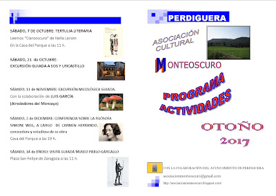 Actividades de Otoño 2017 Asociación Monteoscuro