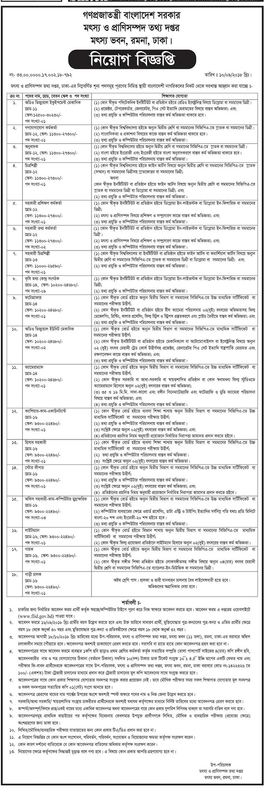 Department of Fisheries and Livestock Information Recruitment Circular 2018